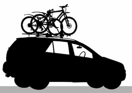 Vector drawing car of traveler Stock Photo - Budget Royalty-Free & Subscription, Code: 400-06075125