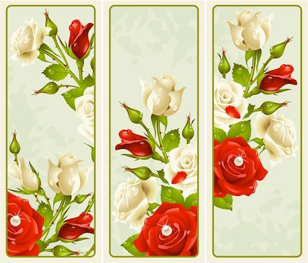 decoration wedding rose vintage - Vector set of Rose vertical banners Stock Photo - Budget Royalty-Free & Subscription, Code: 400-06075152