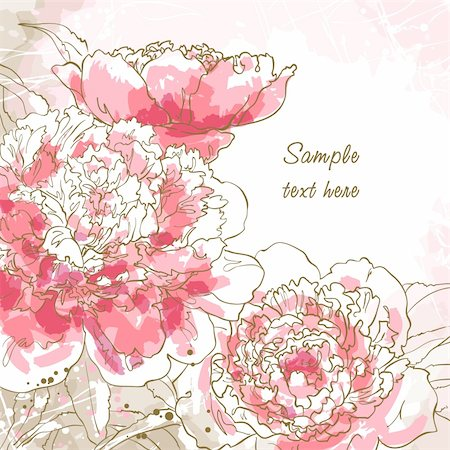peony design vector - Abstract romantic vector background with three peony. Stock Photo - Budget Royalty-Free & Subscription, Code: 400-06075243