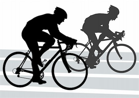 Vector drawing silhouette of a cyclist boy. Silhouette of people Stock Photo - Budget Royalty-Free & Subscription, Code: 400-06075270