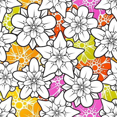 Vector flower seamless background Stock Photo - Budget Royalty-Free & Subscription, Code: 400-06075513