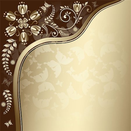 Vintage gold elegance frame with translucent butterflies and floral border (vector EPS 10) Stock Photo - Budget Royalty-Free & Subscription, Code: 400-06075758