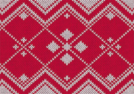 Style seamless red and white knitted pattern Stock Photo - Budget Royalty-Free & Subscription, Code: 400-06076156