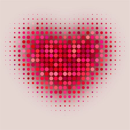 Red color halftone heart shape Stock Photo - Budget Royalty-Free & Subscription, Code: 400-06076167