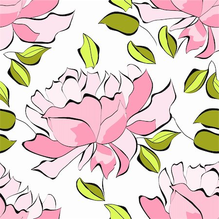 peony illustrations - Seamless wallpaper with peony flowers Stock Photo - Budget Royalty-Free & Subscription, Code: 400-06076192