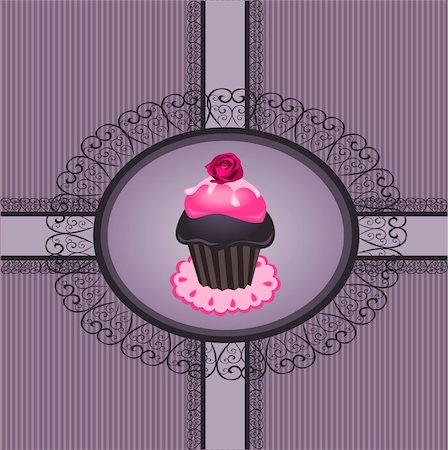 Illustration of vintage with lace frame and cupcake Stock Photo - Budget Royalty-Free & Subscription, Code: 400-06076295