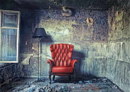 luxury armchair in grunge interior (Photo compilation. Photo and hand-drawing elements combined.) Stock Photo - Budget Royalty-Free & Subscription, Code: 400-06076352