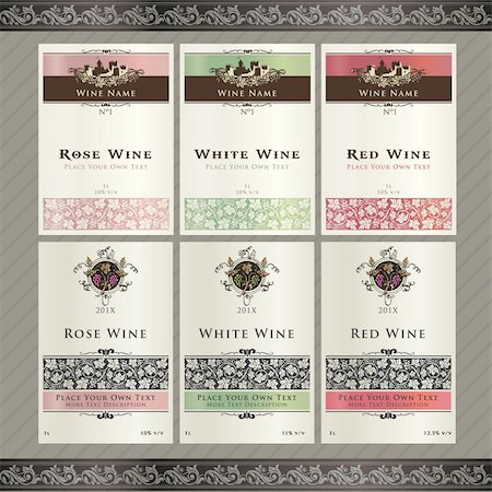 Vector illistration - set of wine label templates Stock Photo - Budget Royalty-Free & Subscription, Code: 400-06076576
