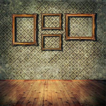 Vintage golden frames on grunge wall Stock Photo - Budget Royalty-Free & Subscription, Code: 400-06076957