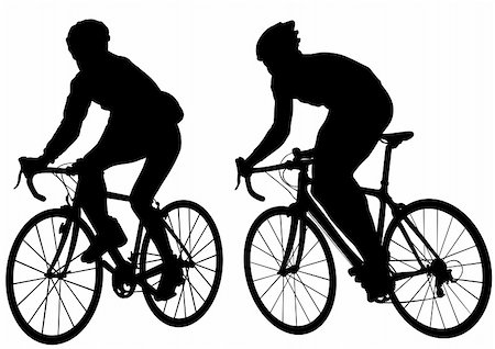 Vector drawing silhouette of a cyclist boy. Silhouette of people Stock Photo - Budget Royalty-Free & Subscription, Code: 400-06076977