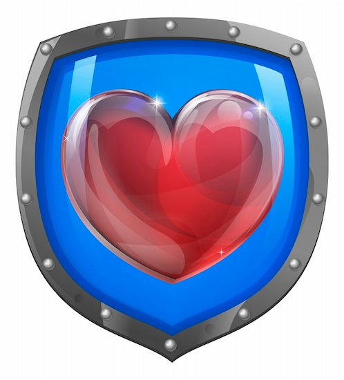 Heart shield vector