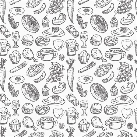 seamless food pattern Stock Photo - Budget Royalty-Free & Subscription, Code: 400-06077799