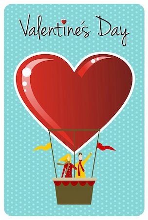 fly heart - Valentines day greeting card design: Couple in hot air balloon shaped like a heart. Vector file available. Stock Photo - Budget Royalty-Free & Subscription, Code: 400-06078192