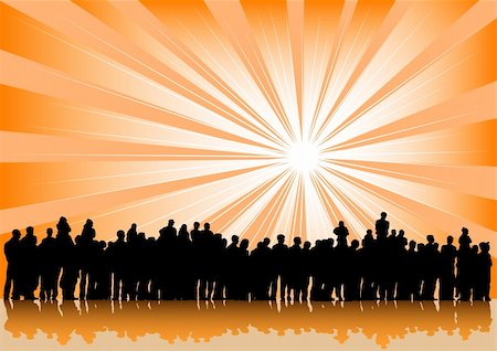 Vector drawing silhouette crowds and sun Stock Photo - Budget Royalty-Free & Subscription, Code: 400-06078207