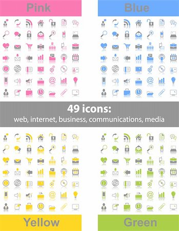 Set of 49 web icons in 4 different color variations Stock Photo - Budget Royalty-Free & Subscription, Code: 400-06078215