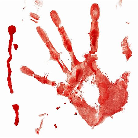 dripping blood - Bloody handprint with drop isolated on a white background Stock Photo - Budget Royalty-Free & Subscription, Code: 400-06078229
