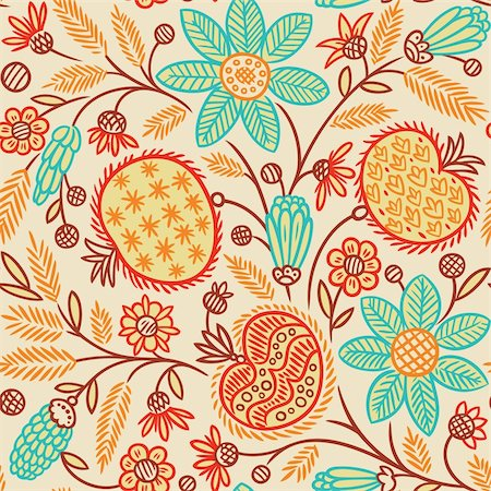 plant leaf paintings graphic - Seamless Floral Pattern. Vector illustration, easy editable. Filetypes are available in zipped .EPS for vector formats, and hi-resolution .JPEG Stock Photo - Budget Royalty-Free & Subscription, Code: 400-06078675