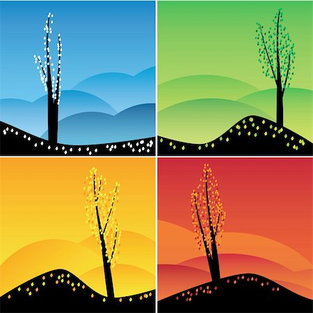 Illustration of square images of four seasons. Also available as a Vector in Adobe illustrator EPS 8 format, compressed in a zip file. Stock Photo - Budget Royalty-Free & Subscription, Code: 400-06079337