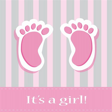 It's a girl pink and grey baby feet Stock Photo - Budget Royalty-Free & Subscription, Code: 400-06079478