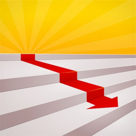 Decreasing diagram of red arrow and several steps Stock Photo - Budget Royalty-Free & Subscription, Code: 400-06079686