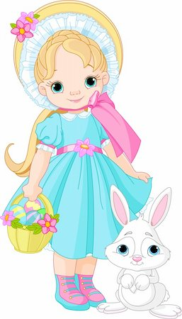 Little girl with Easter rabbit Stock Photo - Budget Royalty-Free & Subscription, Code: 400-06070281