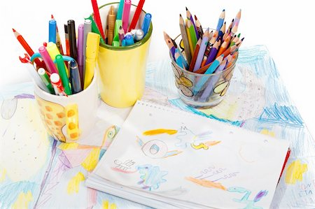 Abstract painting  and pen holders  with colored pens on a white background Stock Photo - Budget Royalty-Free & Subscription, Code: 400-06070378