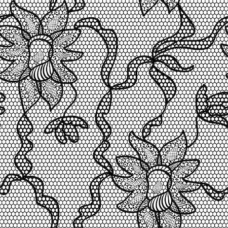 Black lace vector fabric seamless pattern with orchids Stock Photo - Budget Royalty-Free & Subscription, Code: 400-06070548