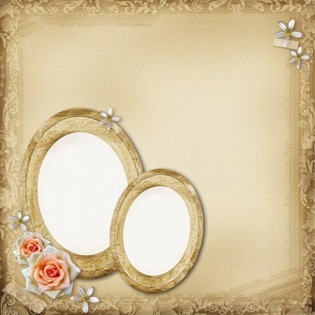 ancient photo album page background with  oval frame and roses Stock Photo - Budget Royalty-Free & Subscription, Code: 400-06070824