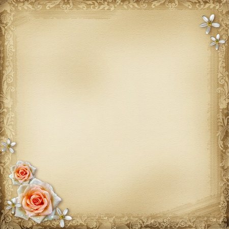 ancient photo album page background with   roses Stock Photo - Budget Royalty-Free & Subscription, Code: 400-06070826