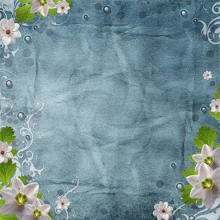 grunge paper background in blue with spring flowers Stock Photo - Budget Royalty-Free & Subscription, Code: 400-06070830