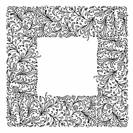 Ornamental frame, hand drawing for your design Stock Photo - Budget Royalty-Free & Subscription, Code: 400-06070845