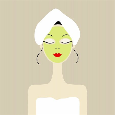 Pretty woman with cosmetic mask on face Stock Photo - Budget Royalty-Free & Subscription, Code: 400-06070874