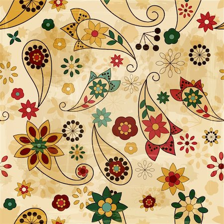 vector seamless spring  pattern, paisley elements and flowers, old paper texture Stock Photo - Budget Royalty-Free & Subscription, Code: 400-06071071