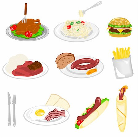 Illustration of different kind of food with white background Stock Photo - Budget Royalty-Free & Subscription, Code: 400-06071090