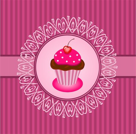Illustration of beautiful vintage with lace frame and cupcake Stock Photo - Budget Royalty-Free & Subscription, Code: 400-06071092