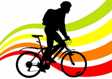 Vector drawing silhouette of a cyclist boy Stock Photo - Budget Royalty-Free & Subscription, Code: 400-06071105