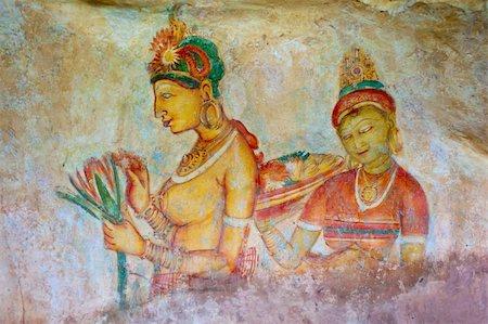Antique asian fresco with two naked women, Sigiriya, Sri Lanka Stock Photo - Budget Royalty-Free & Subscription, Code: 400-06071128