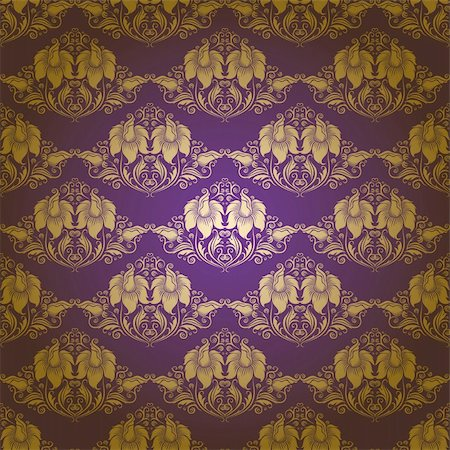 Damask seamless floral pattern. Flowers on a purple background. EPS 10 Stock Photo - Budget Royalty-Free & Subscription, Code: 400-06071434
