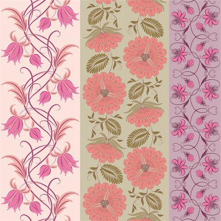 Set of 3 floral seamless pattern. Flowers on a background. Stock Photo - Budget Royalty-Free & Subscription, Code: 400-06071430