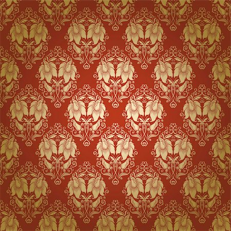 Damask seamless floral pattern. Flowers on a red background. EPS 10 Stock Photo - Budget Royalty-Free & Subscription, Code: 400-06071432