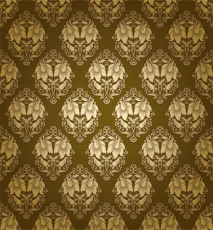 Seamless damask pattern. Flowers on a green background. EPS 10 Stock Photo - Budget Royalty-Free & Subscription, Code: 400-06071433