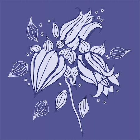 Beautiful purple flower. Hand drawn vector illustration Stock Photo - Budget Royalty-Free & Subscription, Code: 400-06071811