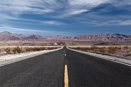 road landscape - Empty highway leading in to Death Valley National Park in California. Stock Photo - Budget Royalty-Free & Subscription, Code: 400-06072034