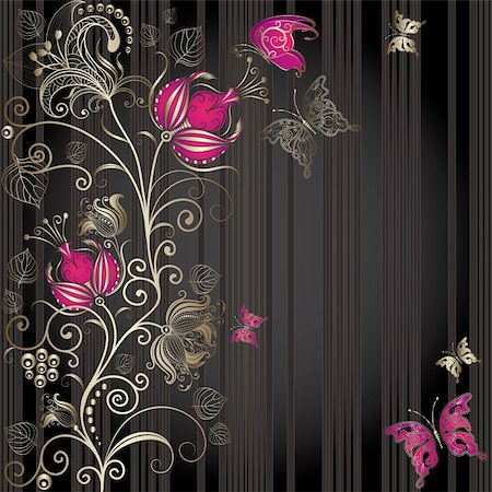 Vintage dark striped easter elegance frame with gold floral border and butterflies (vector) Stock Photo - Budget Royalty-Free & Subscription, Code: 400-06072256