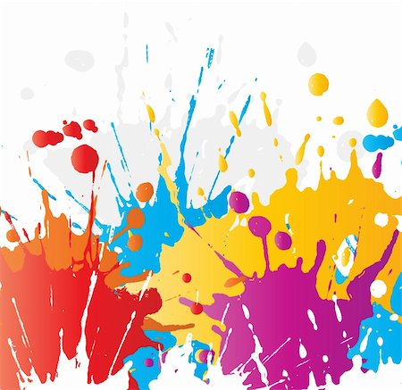 splat - Abstract background of brightly coloured paint splats Stock Photo - Budget Royalty-Free & Subscription, Code: 400-06072353