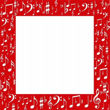 Red frame, white music notes Stock Photo - Budget Royalty-Free & Subscription, Code: 400-06072503