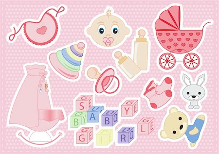 baby elements of a girl on a pink background vector illustration Stock Photo - Budget Royalty-Free & Subscription, Code: 400-06072758