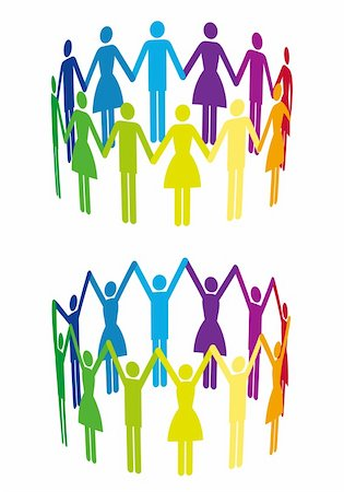 colorful people holding hand in circle, vector background Stock Photo - Budget Royalty-Free & Subscription, Code: 400-06072768