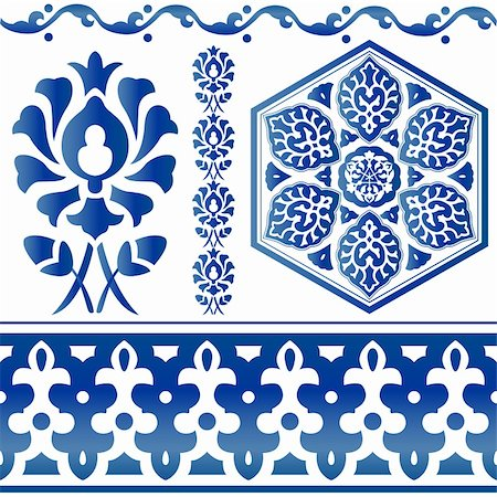 Vector of blue Islamic design elements on white Stock Photo - Budget Royalty-Free & Subscription, Code: 400-06073066