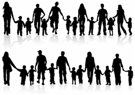 Large Set of Silhouettes of Parents with Children holding Hands, vector illustration Stock Photo - Budget Royalty-Free & Subscription, Code: 400-06073243